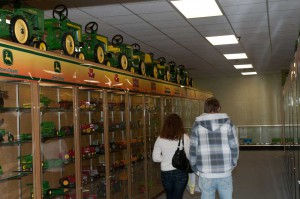 Row of tractors at the National Farm Toy Museum
